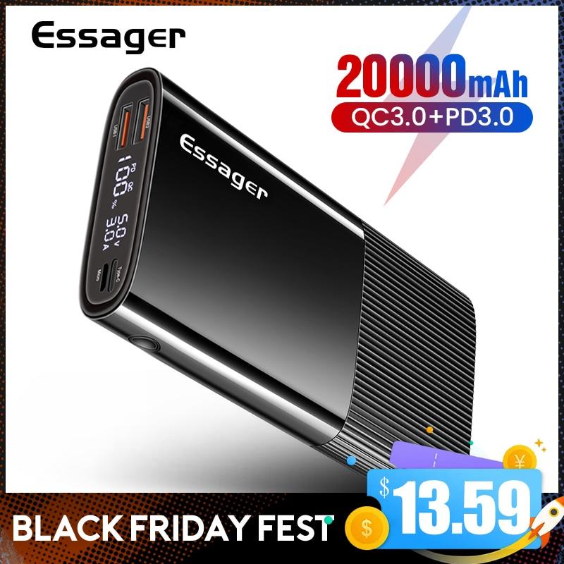 Essager power bank 20000 mah usb tipo c pd qc 3.0 powerbank portátil carregador de bateria externa para xiaomi 20000 mah poverbank|Baterias Externas| - AliExpress