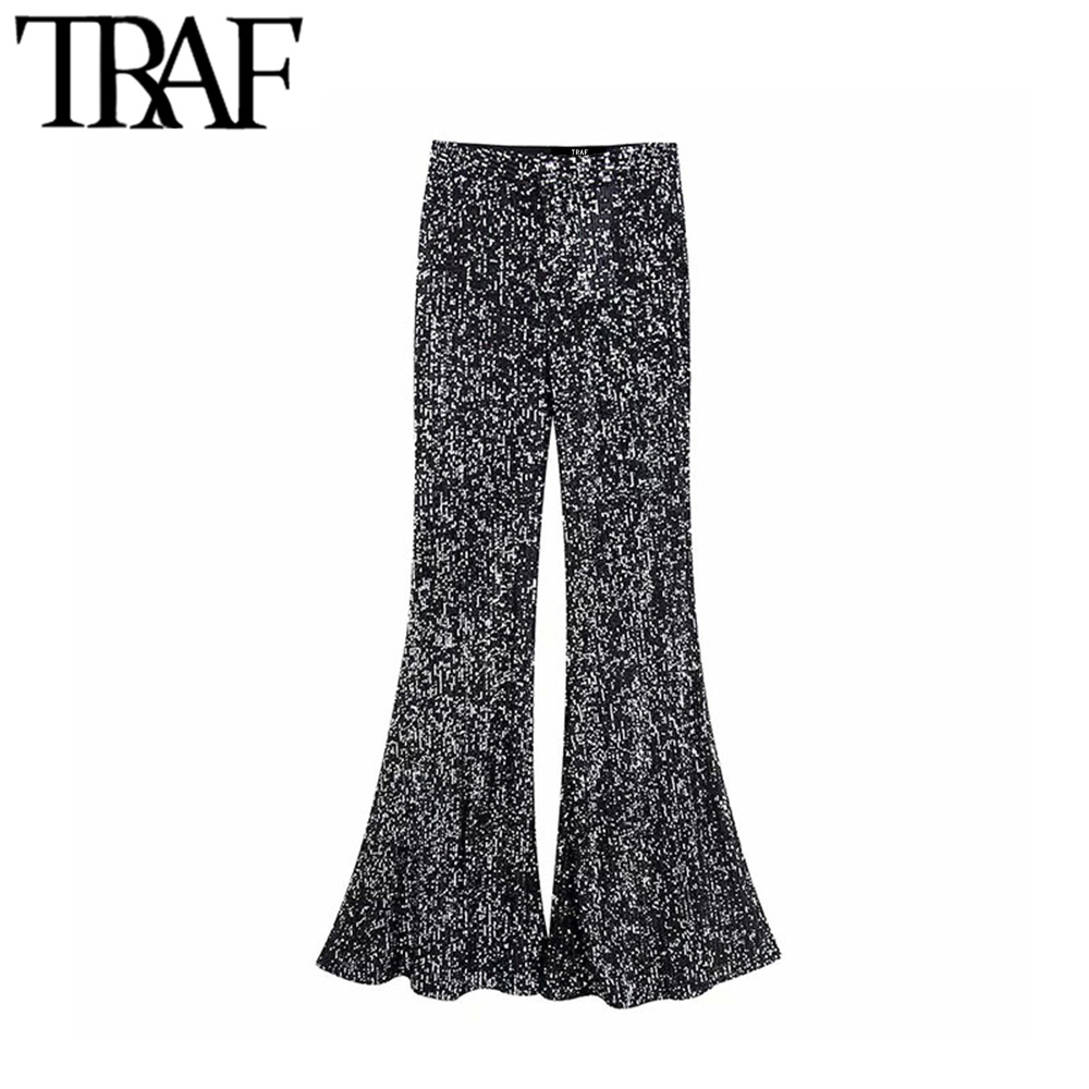 TRAF Women Vintage Sexy Sequin Flare Pants Fashion Zipper Fly Office Wear Female Trousers Chic Pantalones Mujer