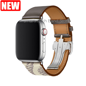 Image 4 - For Apple Watch Band Genuine Leather Single Tour Deployment Buckle for Apple Watch 5 4 3 2 1 Leather Strap for iWatch 44mm 40mm