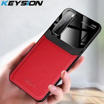 Перейти на Алиэкспресс и купить Ударопрочный чехол KEYSION для Huawei Nova 7 7 Pro, кожаный зеркальный чехол из закаленного стекла для телефона Nova 7i 7 SE 6 5G 5 Pro 5i