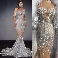 Paillettes scintillantes robe nue Sexy pierres longues grande queue robe Costume bal anniversaire célébrer robes glisser reine colthing