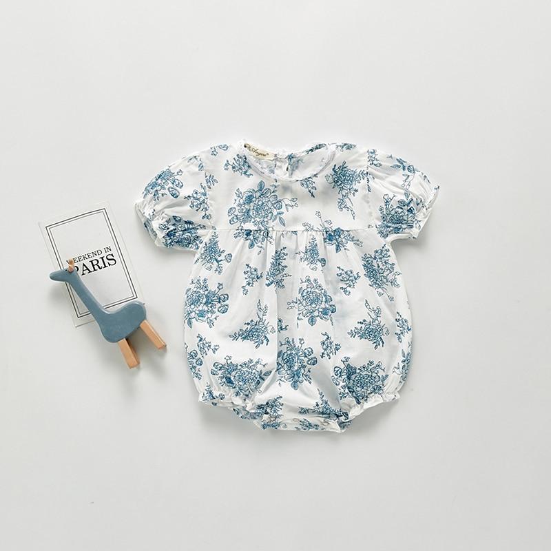Milancel 2020 bebê meninas roupas azul flor bebê bodysuits de manga curta bebê meninas outfit