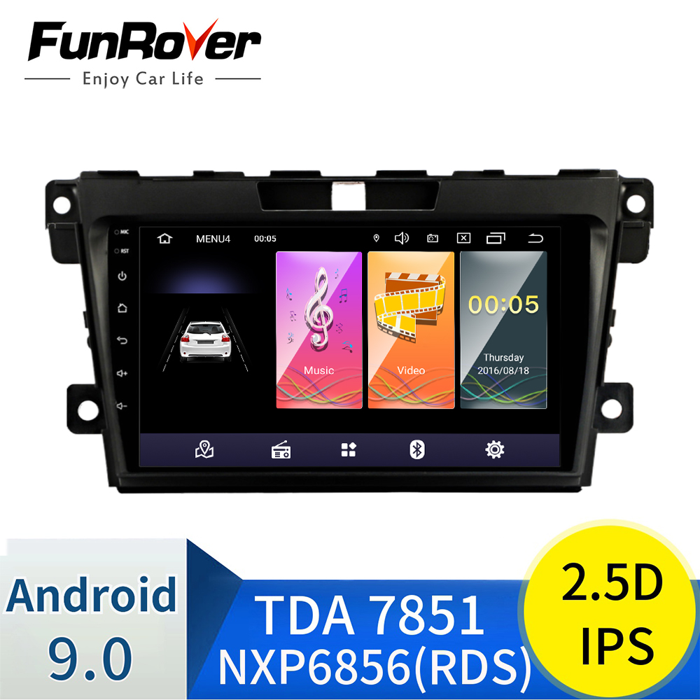 FUNROVER 2.5D+IPS For <font><b>Mazda</b></font> CX7 <font><b>CX</b></font>-<font><b>7</b></font> <font><b>CX</b></font> <font><b>7</b></font> ER 2009-2012 Car Radio Multimedia Video Player Navigation GPS Android 9.0 <font><b>2din</b></font> no dvd image