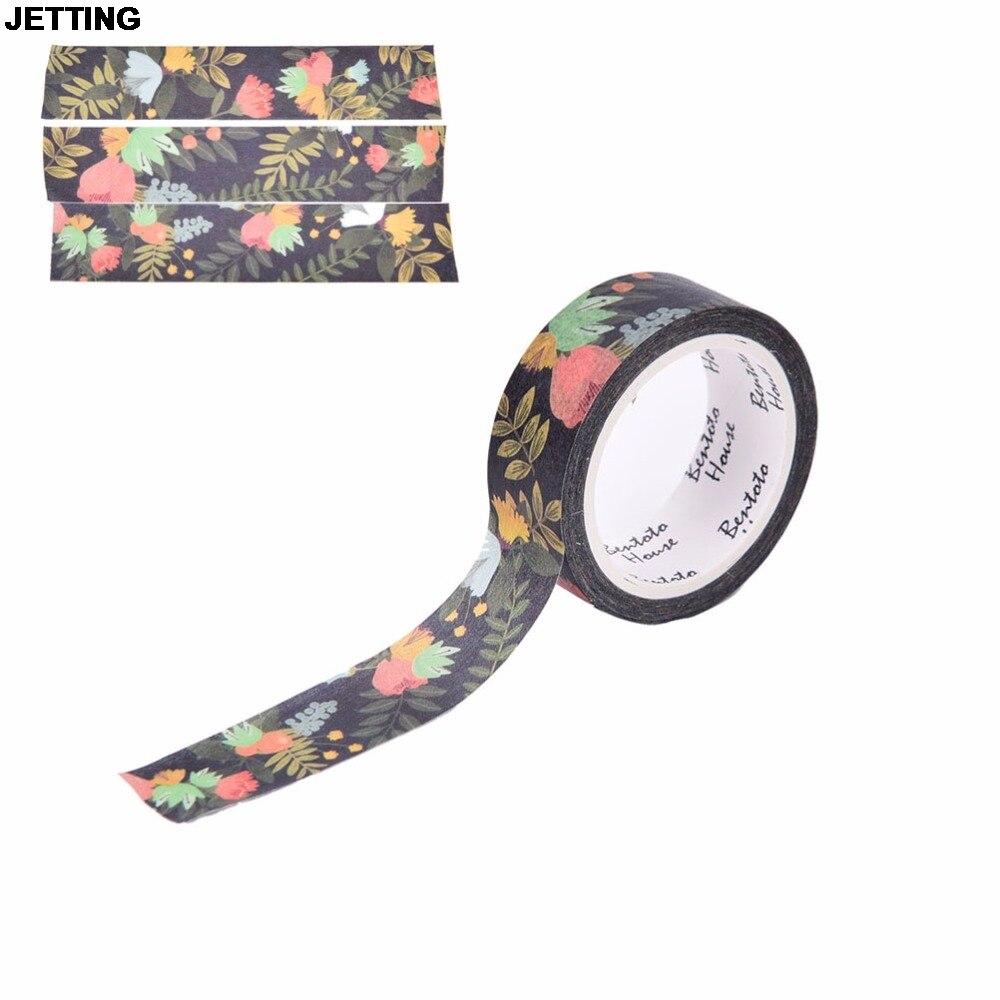 JETTING Dark Flowers Washi Tape DIY Decorative Adhesive Sticker Paper Tape Masking Tape Scrapbooking Washi Tape