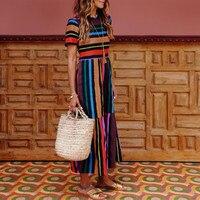 women's dress 2019 Fashion Women Boho Hippie Shirt Dress Ladies Retro Rainbow Print Loose Midi Dress 12.10