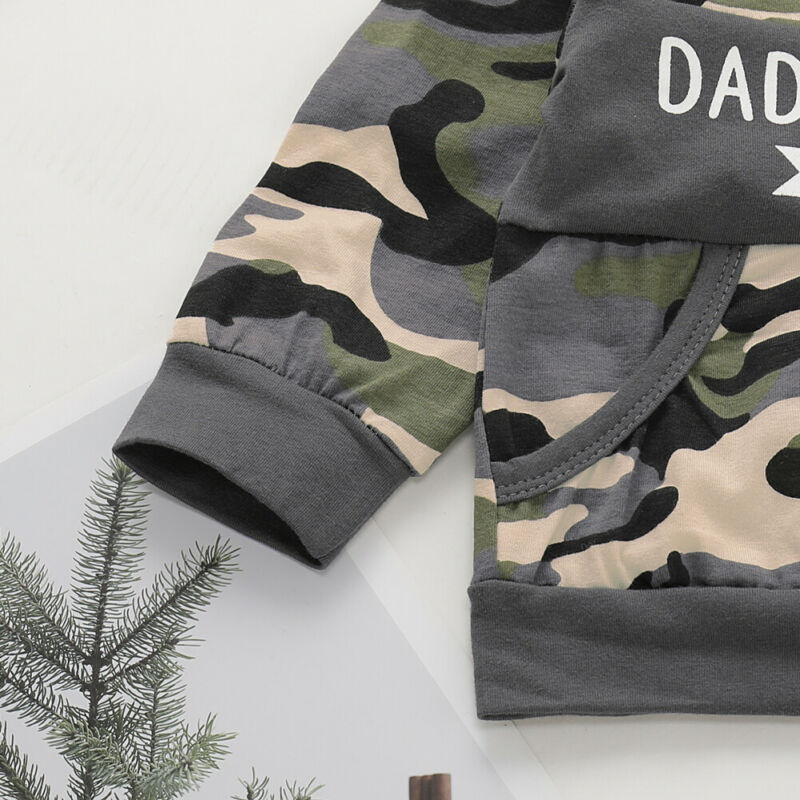 UK Toddler Kids Baby Boy Tops T-shirt Camouflage Long Pants Outfit Set Tracksuit