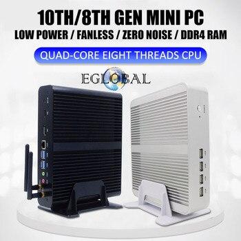 Eglobal Fanless Mini Computer Intel  i7-1065G7 10510U i5 8265U 2*DDR4 Msata+M.2 PCIE Gaming PC Windows 10 HTPC Nuc VGA DP HDMI