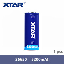 1Pcs Xtar Rechargeable 26650 5200mAh 3.7V protected battery for flashlights Compatible with MC1 MC2 PB2 VC2 VC4 SV2 charger