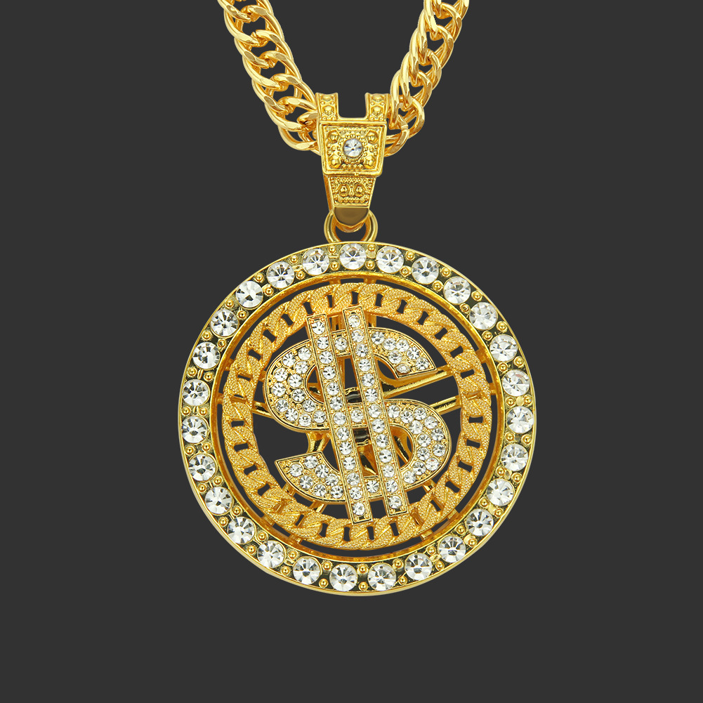Europe And America Hip Hop Street Fashion Man Necklace Diamond Set American Dollars Rotation Pendant Necklace Nightclub Clubbing