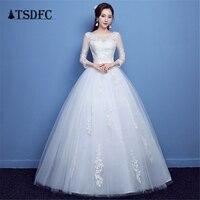 100% настоящая фотография три четверти рукав 2018 прибытие корейский стиль бальное платье модное кружевное свадебное платье Элегантное платье...