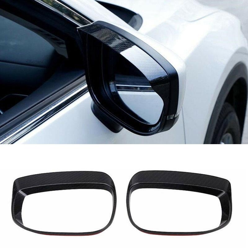 Carbon Fiber Rearview Mirror Rain Eyebrow Cover Trim For Mazda CX-5 CX5 2017 2018