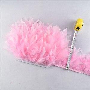 Image 4 - Volante de flecos de plumas de pavo, plumas marabú de 4 6 pulgadas, recorte de falda, adornos de vestido, plumas de cinta para manualidades, 10 metros/lote, venta al por mayor