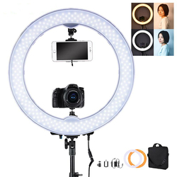 55W 5500K 240 LED Makeup Photographic Lighting Dimmable Camera Photo Video Phone Photography Ring Light Lamp&battery Slot