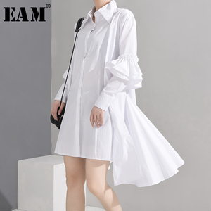 [EAM] Women White Ruffles Big Size Irregular Shirt Dress New Lapel Long Sleeve Loose Fit Fashion Tide Spring Summer 2020 WF32600