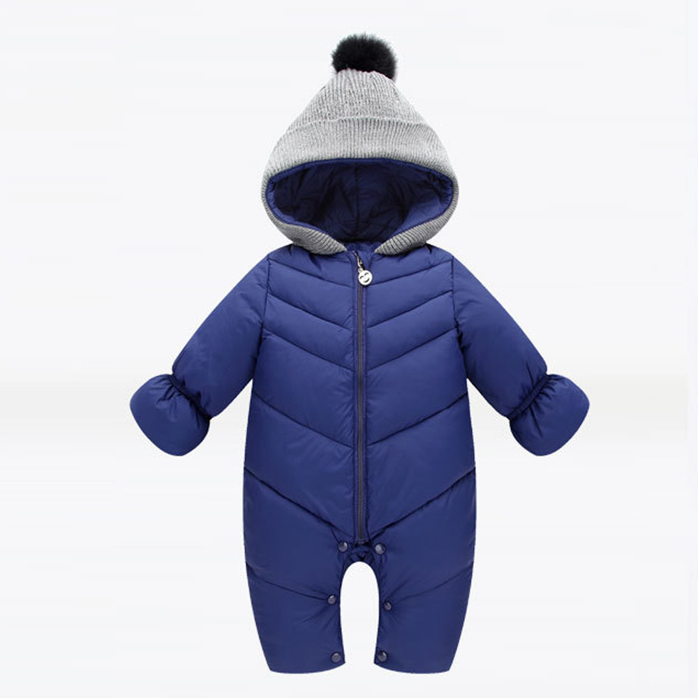 Newborn Baby Romper Hooded Baby Boys Rompers Long Winter Baby Girl Rompers Down Cotton Jumpsuit Thick Warm Clothes Wy4