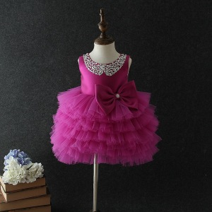 Birthday Baby Girl Dresses Tutu Purple Layered Wedding Princess Vestidos 2020 Baby Clothes Of 1 2 3 4 5 Years Old 184028(China)