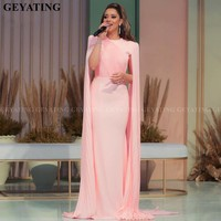 Elegant Pink Mermaid Dubai Evening Dress with Cape Sleeves Lebanon Women Formal Dresses 2019 Arabic Celebrity Prom Party Gowns