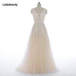 Vestido de festa nova vindo robe de soiree v pescoço com apliques rendas longo tule festa vestidos de noite 2019 rosa azul marinho cinza