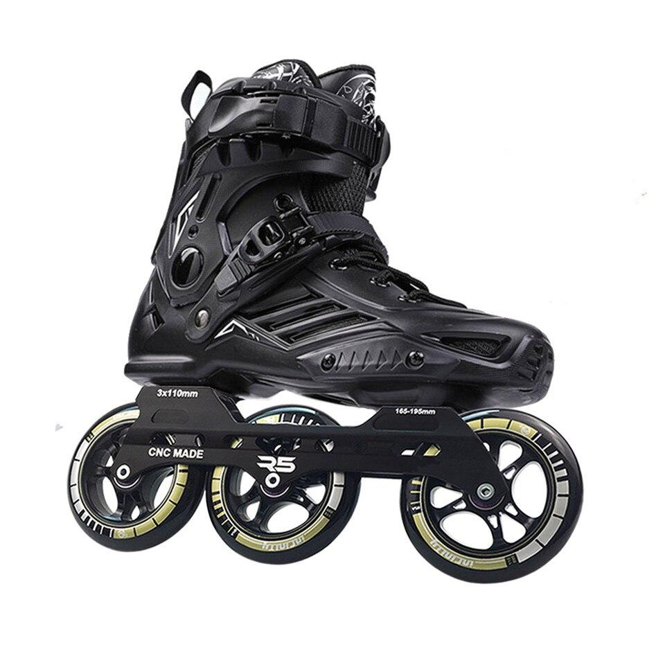 JK RS6 Speed Inline Roller Skates Professional Roller Skating Shoes For Adult 3 Or 4 *110mm Wheels Patines FSK Rollerblade SH55