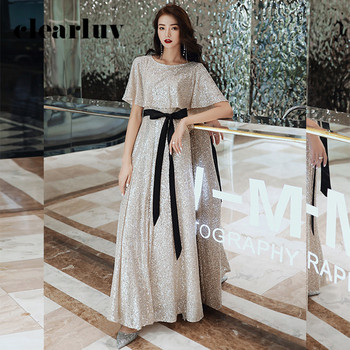 Silver Sequin Women Party Dresses DR347 O-Neck Cap Sleve Evening Gowns A-Line Robe De Soiree Ankle-Length Vestidos De Fiesta