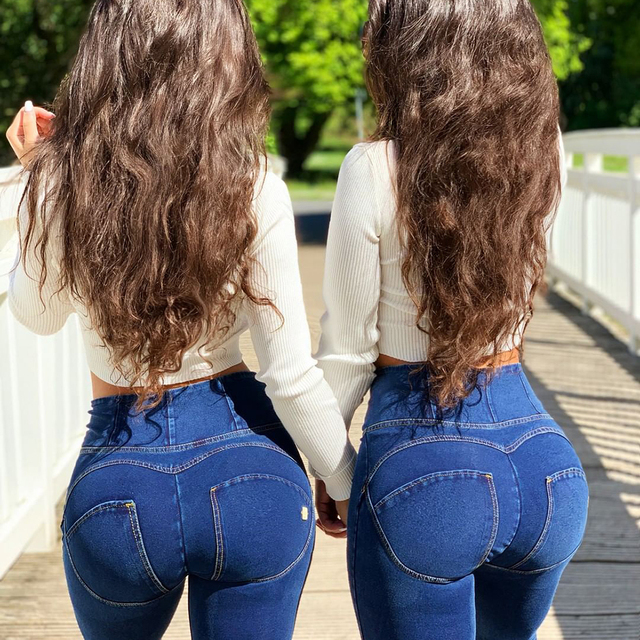 Melody Four Ways Stretchable alta-rise skinny-fit pantalones vaqueros elásticos mujer drop shipping