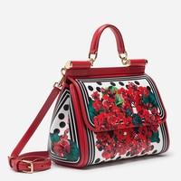 Famous Designer Red Flower Painted Shoulder Bag Luxury Brand Ethnic Genuine Leather Tote Handbag Louis Brand Channels GG Bag