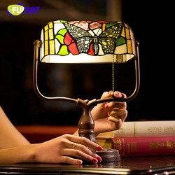 FUMAT ważka lampa stołowa kwiat witraż E27 LED sypialnia lampki nocne lampy stołowe banku Tiffany w stylu domu w stylu Art Deco lampka na biurko