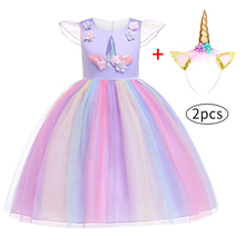 Girl Unicorn Princess Dress Set For Girls Birthday Wedding Party Costumes Children Lace