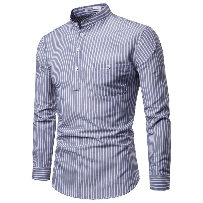 AliExpress Purchasing Agents 2018 Spring And Autumn New Style Men Stand Collar Long Sleeve Pullover Striped Shirt