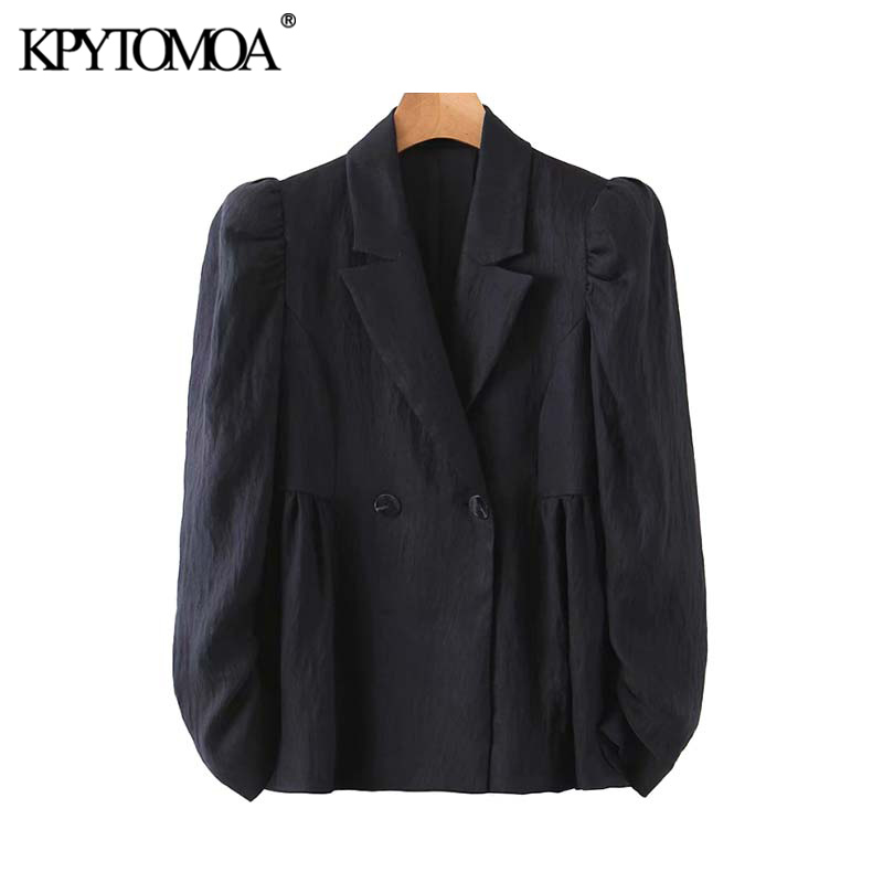 KPYTOMOA Women 2020 Fashion Office Wear Double Breasted Blazer Coat Vintage Notched Collar Puff Sleeve Female Outwear Chic Tops