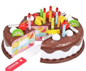 37 stücke Küche Spielzeug Kuchen Lebensmittel DIY Pretend Spielen Obst Schneiden Geburtstag Spielzeug für Kinder Kunststoff Pädagogisches Baby kinder Geschenk GYH