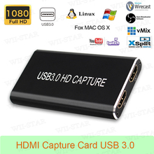 Hdmi placa de captura usb3.0 1080 p hdmi para usbc tipo c conversor de vídeo para mac windows linux os x gravação do jogo