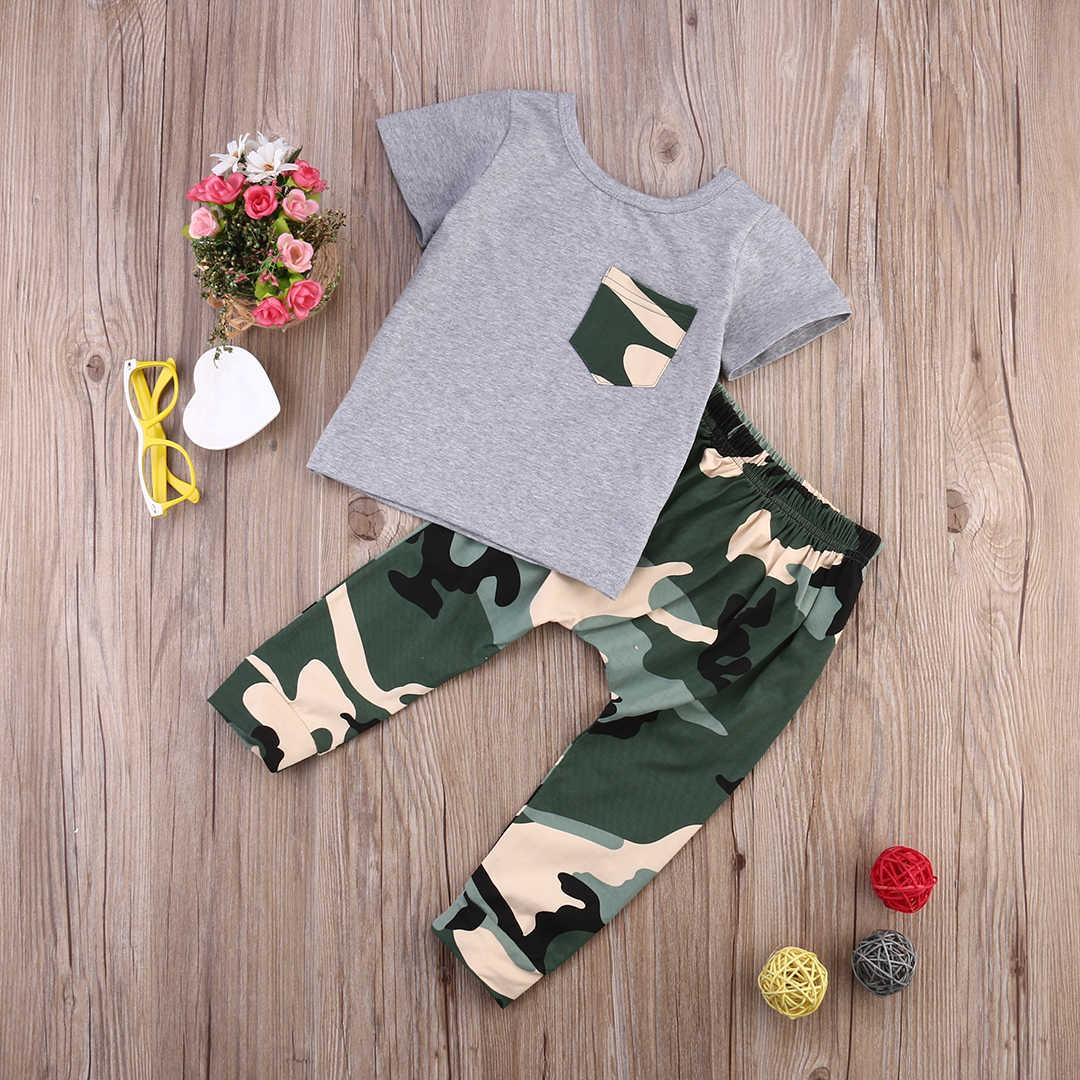 2020 יילוד תינוק ילדים בני תלבושות בגדי תינוקות קיץ קצר שרוול חולצת טי חולצות + הסוואה מכנסיים 2pcs תלבושת בגדים סטים
