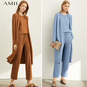 Amii Autumn Elegant Three Piece Set Female Casual Solid Knit Sweater Loose Coat and Trousers Sold Separately 11920160
