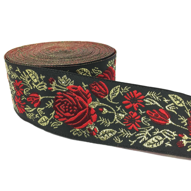 3.3CMx5yards/lots Black Matrix Red Roses Webbing Filigree Trim Laciness European Style Decoration National Embroidered Ribbon