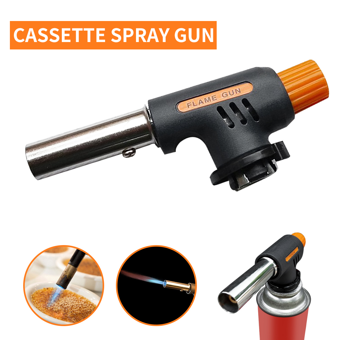 Gas Welding Torch Flamethrower Butane Burner Automatic Ignition Baking Fire Flame Torches Welding BBQ Camping Outdoor Hiking