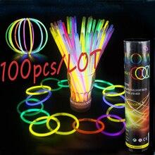 100pcs Glow Stick Light Stick Necklace Bracelets Fluorescent Bright Colorful Light Festival Supplies Concert Activity Decoration недорого