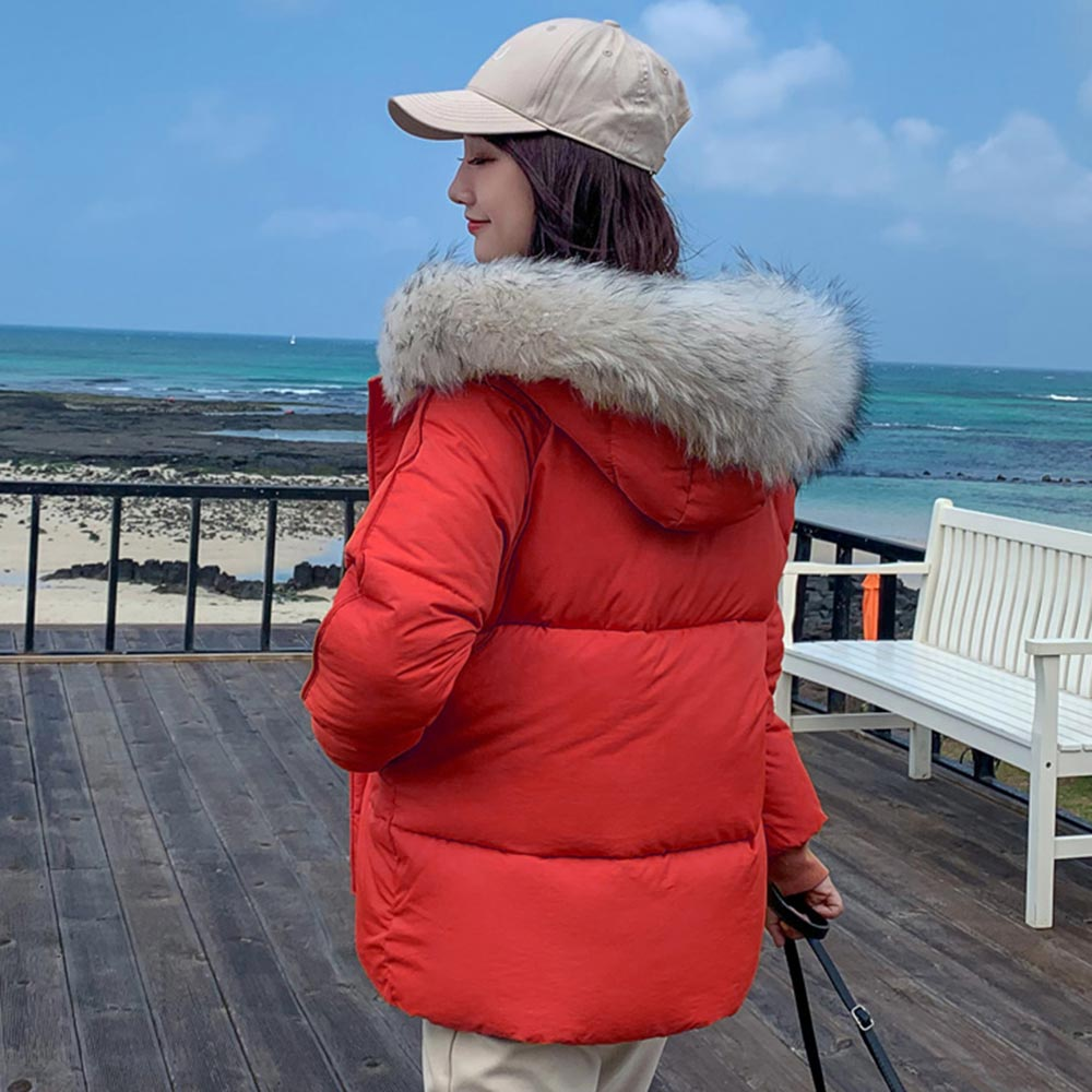 2019 Women Winter Jackets Down Cotton Hooded Coat Plus Size Parkas Mujer Coats Long Coat Fashion Female Fur collar Coats in Parkas from Women 39 s Clothing