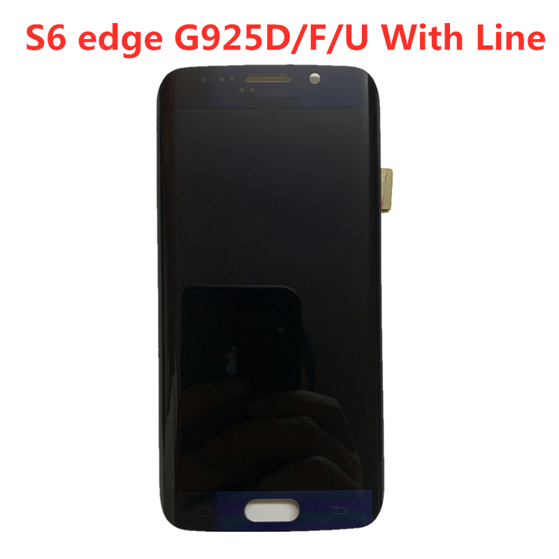 Original  AMOLED With Line  For Samsung Galaxy S6 Edge Lcd G925A G925U G925F LCD Display Touch Screen Digitizer Assembly
