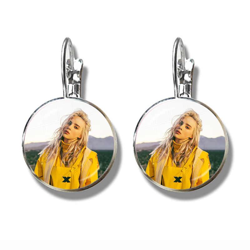 Hip-hop muzyka kolczyki Billie Eilish obraz 16mm szkło Cabochon biżuteria dla kobiet dziewczyn fanów muzyki prezent