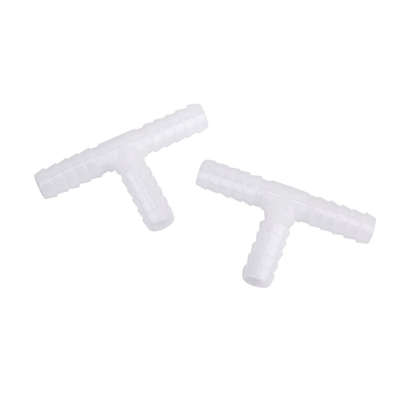 2 Pcs 10 Mm Plastic DC T-connectors Barbed Pipe Joint Air Hose Joiner