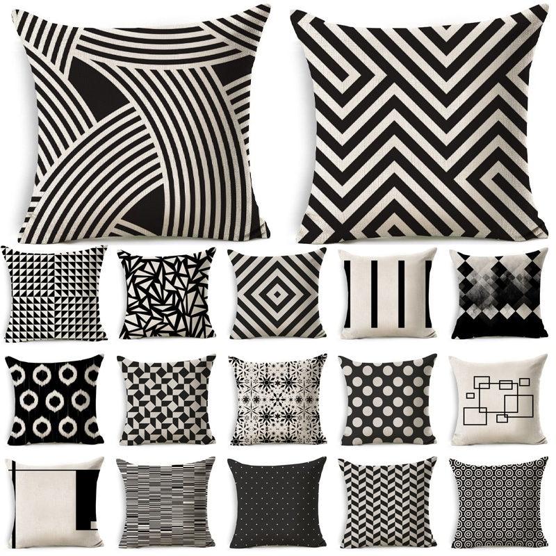Black White Geometric Pattern Cotton Linen Throw Pillow Cushion Cover Car Home Sofa Bed Decorative Pillowcase Funda Cojin 40198 Cushion Cover Aliexpress