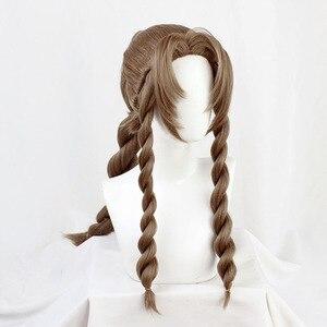 FF VII 7 Remake Aerith Gainsborough Cosplay Braun Braid Lange Wärme Beständig Synthetische Haar Halloween Karneval + Freies Perücke Kappe