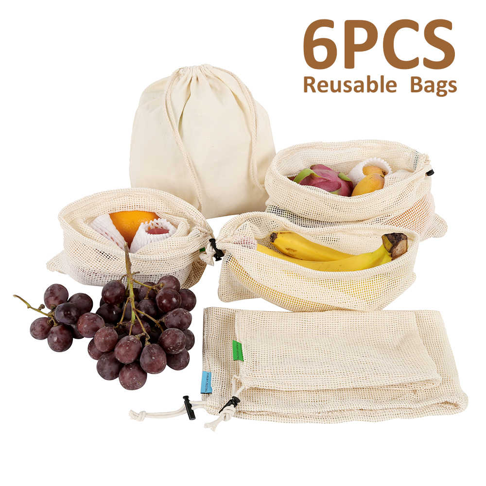 6pcs/set Reusable Cotton Vegetable Bags Home Kitchen Fruit And Vegetable Storage Mesh Bags With Drawstring Machine Washable