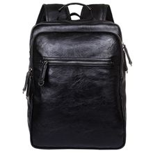 купить Men Leather Backpack High Travel Rucksack School Backpack Mens Laptop Business Backpack Shoulder Bag Black дешево