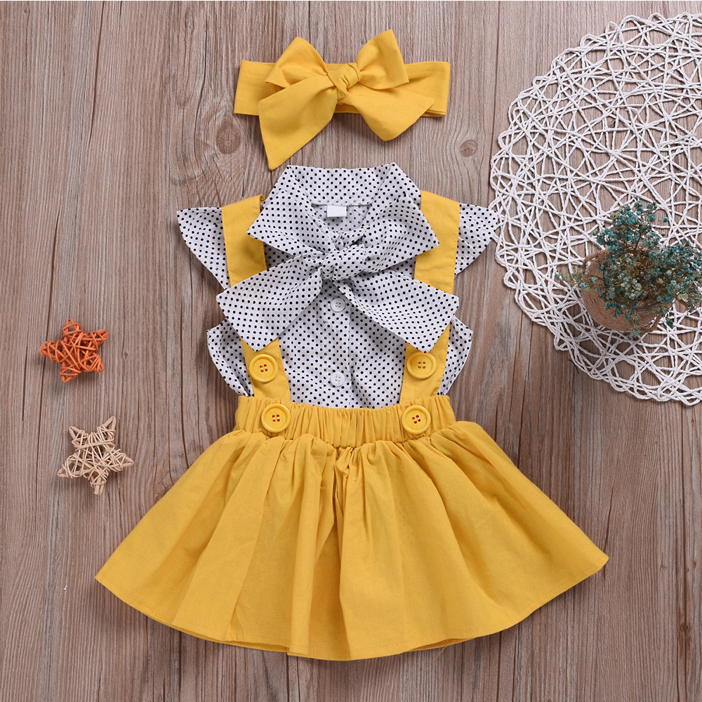 Hc68583f9676241f3aa6407ce7797dce5D - HE Hello Enjoy Baby Girls Clothes Sets Summer Dot Flying Sleeve Shirt+Strap Dresses+Headband Kids Children's Clothing Suit
