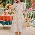 Yitimoky Frau Kleid Weiß Stickerei Floral Mid-Waden Solide Kleidung Sommer Neue Kurzarm Lose Quadrat Kragen Süße Sommerkleid