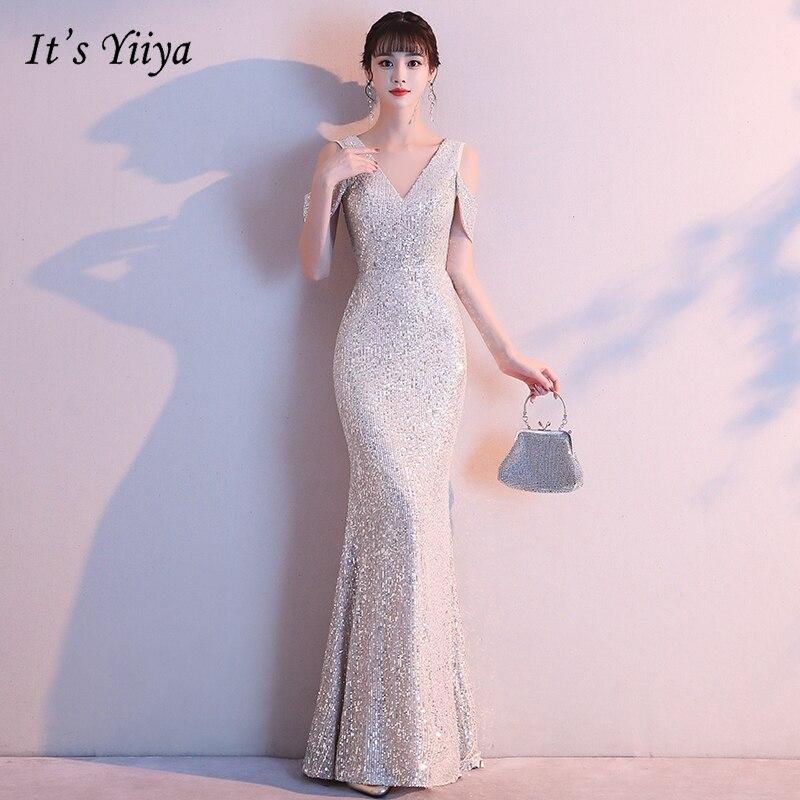 It's YiiYa Evening Dress Long Plus Size Robe De Soiree K118 Elegant V-neck Shining Off Shoulder Sequins Zipper Eveing Dresses