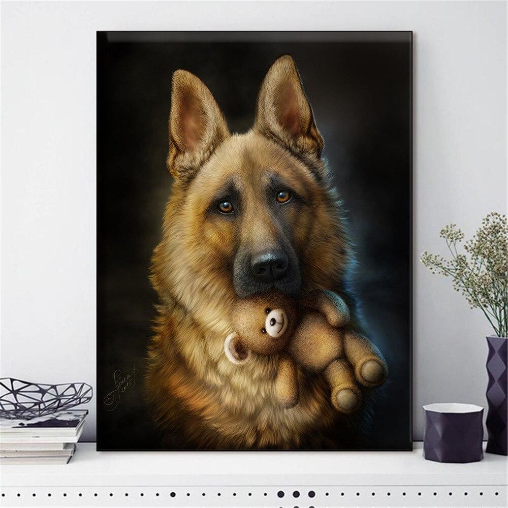 HUACAN nakış çapraz dikiş köpek hayvan İğne setleri tam kitleri beyaz tuval DIY ev dekoru 14CT 40x50cm