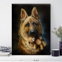 HUACAN Embroidery Cross Stitch Dog Animal Needlework Sets For Full Kits White Canvas DIY Home Decor 14CT 40x50cm